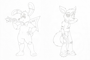 Bonnie and Foxy character practice by Joey-Darkmeat