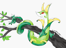 Pokecember - Grass (Serperior) by A-Bumbling-Idiot