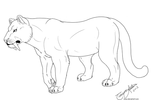 Female Sabertooth Long Tail Template by Myuui