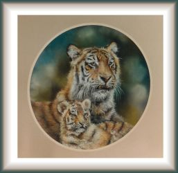 Father and Son - pastel by Lynne-Abley-Burton