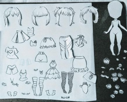 Chibi paper doll by Cloudney