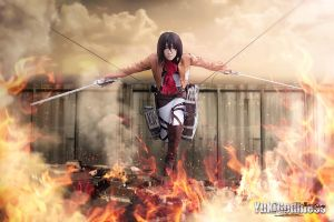Mikasa Ackerman from Attack on Titan cosplay Fire by yukigodbless
