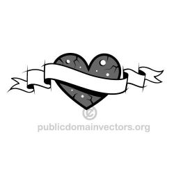 Heart and ribbon vector by publicdomainvectors