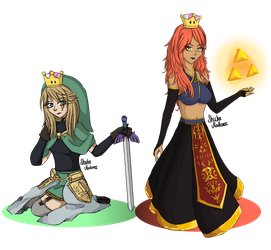 Super Crown Link and Ganondorf by ShukaMadoxes