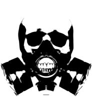 Skull with a gas mask by DrGlass