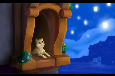 A Doge, in Rapunzel's tower, as a baby by Fecu