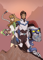 Lance and Pidge and Blue Lion by Cryptkeeper777