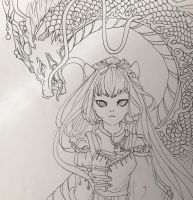 Inked dragon girl by Menelique