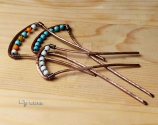 Copper hair pins by artual