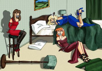Sara, Keyer and CHRYSTEL. The Kingfisher Case by DamselComics