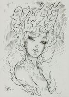 fire girl inktober 20017 #8 by MichaelDooney
