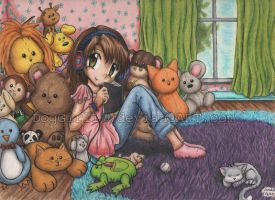 Surrounded by animals by DogGirl17