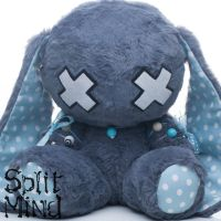 Blue Gray Bunny by splitmindplush