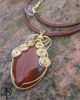 Red Agate  Wire Wrapped Necklace by DesignByPatri