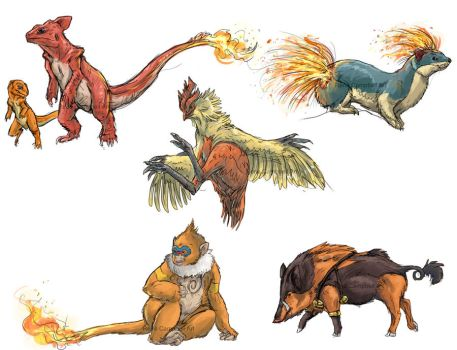 Realistic Pokemon Sketches: Fire 2nd Evolutions by ReneCampbellArt