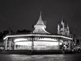 Black and White Carousel by artsyfaux