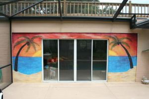Tropical Pool Side Mural by concettasdesigns