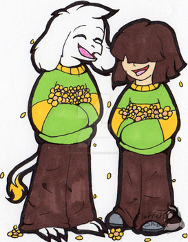 Chara and Asriel by Fluffeh-Shiba