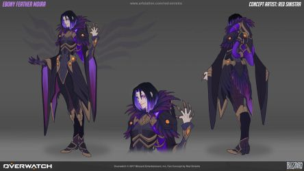 Overwatch: Ebony Feather Moira - Fan Skin Concept by Red-Sinistra