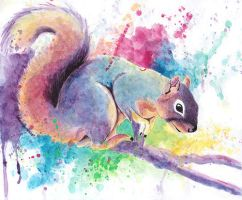 watercolor fox squirrel by Flyinfrogg