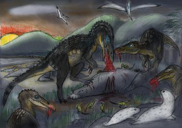 Native JP Wildlife 2-Elephant seals (and Baryonyx) by Taliesaurus