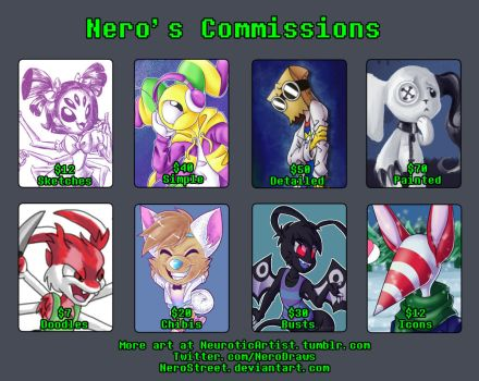 2018 Commission Sheet by NeroStreet