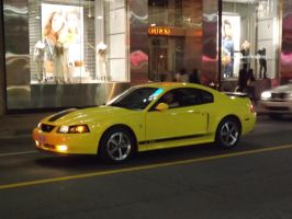 The Yellow Mustang At Yonge And Dundas #1 by Neville6000