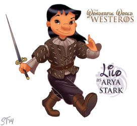 Lilo as Arya Stark by DjeDjehuti