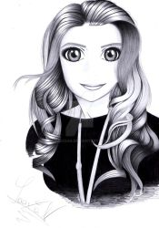 Drawing of a girl's fb profile picture. by Yaaxian