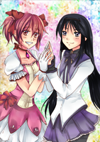 Madoka and Homura by Azallie