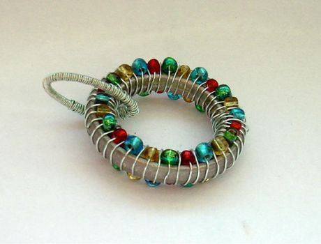 Bead Wire Wrap Pendant by Inca-17