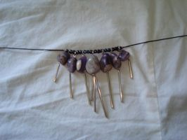 Dangly Amethyst choker by TeganIrish