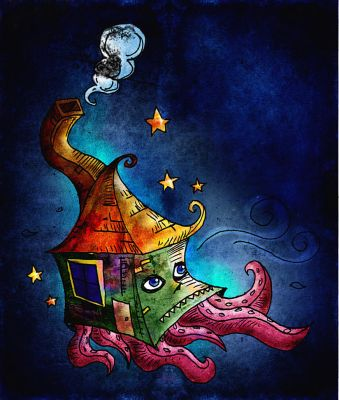 Squidy House Travel with Stars by Maggoth