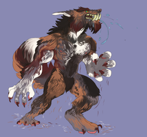 [Werewolf Commission] Big Fluff Werewolf by Nikodavis