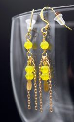Earrings: yellow glass and gold chain by LissaMonster