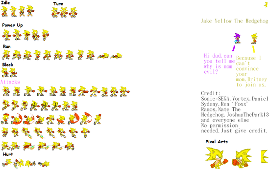 Jake The Hedgehog Sprites sheet completed by Phantom644
