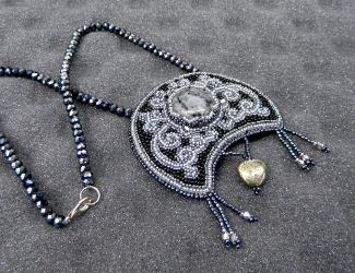 Moon of the Witches bead embroidered necklace by YANKA-arts-n-crafts