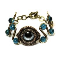 Steampunk Blue Beholder Eye Bracelet by CatherinetteRings