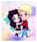 Commission - Simple chibi Selena and Alec by Wild-Fluff