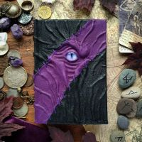 Black and purple stitched necronomicon by MilleCuirs