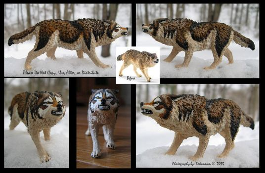 Customized 2015 Schleich Snarling Wolf by WhiteLightning-Wolf