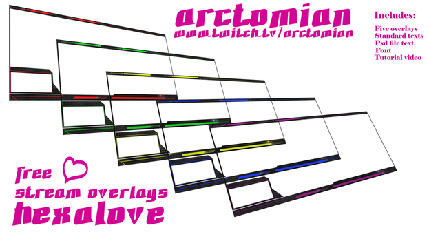 5 Free Stream overlays: Hexalove by Arctomian
