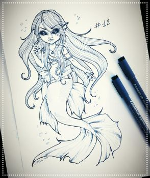 Inktober 12: Spoopy Mermaid by SavanasArt
