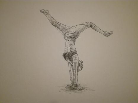 Inktober 2017, Day 22: woman doing handstand by GLangGould