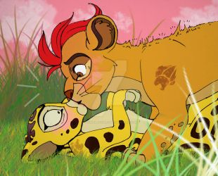 Kion and Fuli and unexpected kiss by YoungLadyArt