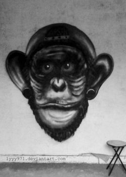 Monkey - Street art by lyyy971