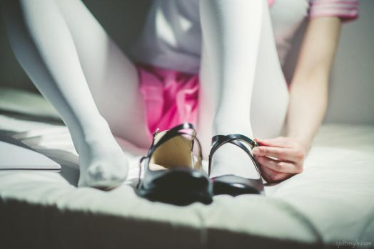 White tights, mary janes, and pink skirt #7 by PascalsProxy