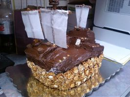 Incan Gold Ship Cake- Illusion of Gaia by Band-Geek24