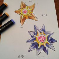 pkmn of the day- Staryu and Starmie