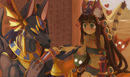 Anubis and Bastet by Cuney